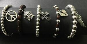 【送料無料】ブレスレット シルバーブレスレットクロスアラモサインlegno e argento bracciali impilabile con croce pace firmare ala cuore buddha