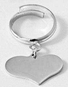 【送料無料】ブレスレット ペンダントハートシルバーリングサイズanello pendente a cuore argento 925 con incisionetutte misure disponibili