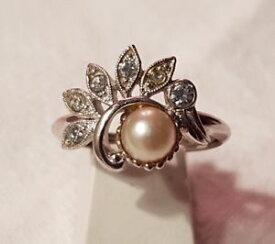 【送料無料】ブレスレット ビンテージリングエイボンクリスタルbijou vintage bague ring t58 mtal argent sign avon perle de verre cristal t6