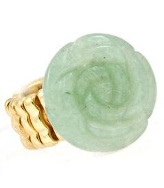 【送料無料】ブレスレット リングストレッチフラワーブティックゴールドlush dichiarazione gold 12 intagliato fiore di giada verde anello stretch da rocce boutique
