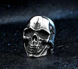 【送料無料】ブレスレット ステンレススチールシルバーバイカーパンクシュガースカルリングnuovo in acciaio inox lucido argento soldato biker punk intagliato sugar skull ring