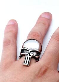 【送料無料】ブレスレット ステンレススチールコミックバイカースカルリングnuovo in acciaio inox argento extra lucido punitore lungo fumetto biker teschio anello