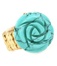 【送料無料】ブレスレット ゴールドターコイズフラワーリングストレッチブティックlush dichiarazione gold 12 intagliato fiore turchese anello stretch da rocce boutique