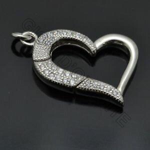 【送料無料】ブレスレット シルバーmoschettone chiusura cuore 15x18 mm con zirconi in argento 925