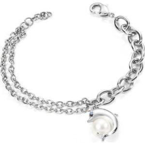 【送料無料】ブレスレット スチールブレスレットデルフィーノメスパールブレスレットmorellato braccialetto acciaio animalia skp14 delfino perla femminile bracciali