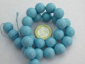 【送料無料】ブレスレット ビーズターコイズワイヤ1 filo di turchese in pasta lucido di 16 mm 24 perle lungo 39 cm