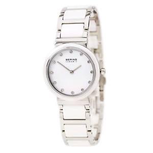 【送料無料】bering 10729754 ladys steel amp; white ceramic bracelet quartz watch