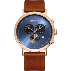 【送料無料】bering mens chrono rose gold tone stainless steel brown leather watch 10540467
