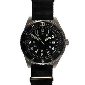 【送料無料】mwc navigator swiss gmt quarzo 300m acciaio luminova nero pilot uomo orologio