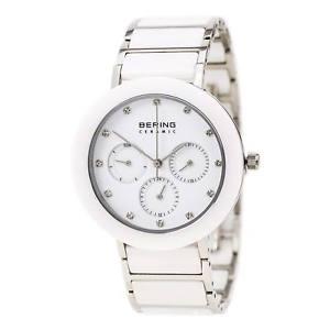 【送料無料】bering 11438754 ladys white ceramic amp; steel bracelet date watch