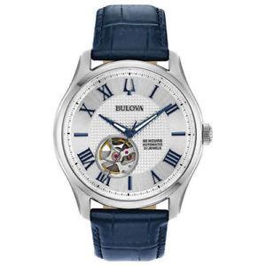 【送料無料】bulova 96a206 mens wilton blue leather strap automatic movement watch