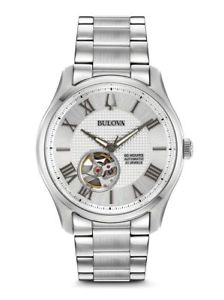 【送料無料】bulova 96a207 mens wilton stainless steel automatic 42mm case watch