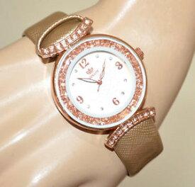 【送料無料】orologio donna cinturino oro lucido cristalli oro rosa strass montre watch bb40