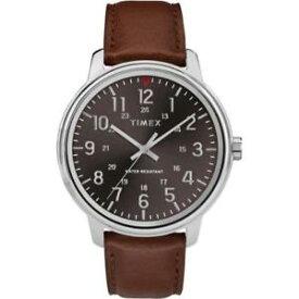 【送料無料】timex tw2r85700, mens basics brown leather watch, 43mm, 30 meter wr