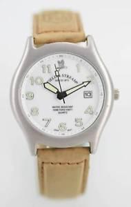 【送料無料】field amp; stream watch mens white silver stainless tan leather date 50m quartz
