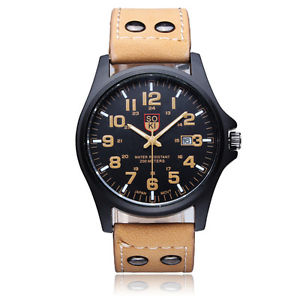 【送料無料】soki men grind arenaceous strap calendar quartz analog sport watch