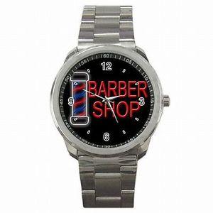 【送料無料】barber shop pole sign stainless steel watch