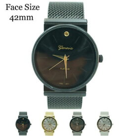 【送料無料】geneva platinum ladies round mesh watch 42mm