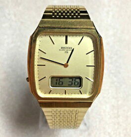 1363c8b22e 【送料無料】excellent rare vintage ricoh gold tone anadigi alarm quartz watch  works great