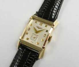 【送料無料】longines gents soild 14k gold fancy sculptured lugs vintage 1950s wristwatch
