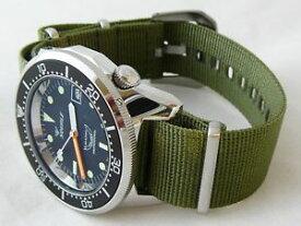 【送料無料】orologio squale professional 500mt cassa acciaio lucido, cinturino nato oliva