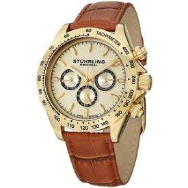 【送料無料】stuhrling triumph classic mens 42mm brown calfskin krysterna date watch 564l02
