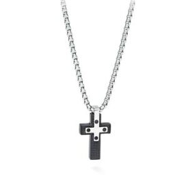 【送料無料】ネックレス 'クロスコンログcollana uomo s agapo croix scx01 con ciondolo croce acciaio pvd nero lucido log