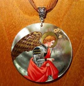 【送料無料】ネックレス フィリッポリッピシェルフラグメントfilippo lippi pendentif main de coquille peint fragment le annunciation ange
