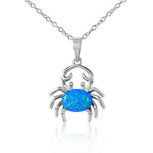 【送料無料】ネックレス スターリングシルバーネックレスワタリガニオパールargent sterling collier w bleu opale crabe pendentif