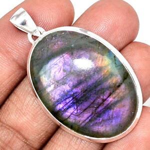 【送料無料】ネックレス ケースマウントgros pendentif labradorite violet trs rare monture argent 925 ref 8898