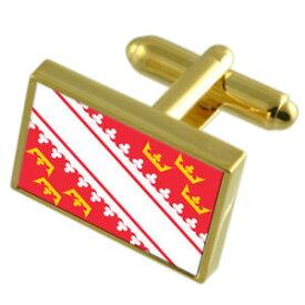 【送料無料】メンズアクセサリ— アルザスフランスゴールドフラッグカフスボタンボックスalsace province france gold flag cufflinks engraved box
