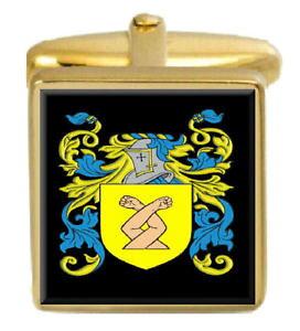 【送料無料】メンズアクセサリ? イングランドカフスボタンボックスコートhobby england family crest surname coat of arms gold cufflinks engraved box