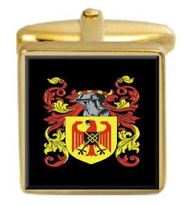 【送料無料】メンズアクセサリ? イギリスカフスボタンボックスコートjeffers england family crest surname coat of arms gold cufflinks engraved box