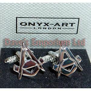 【送料無料】メンズアクセサリ? スクエアオニキスアートコンパスカフスボタンボックスmasonic square amp; compass cufflinks by onyx art gift boxed highly detailed