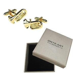 【送料無料】メンズアクセサリ? メンズゴールドチューバノベルティカフスボタンオニキスアートボックスオンmens gold tuba musician novelty cufflinks amp; gift box by onyx art