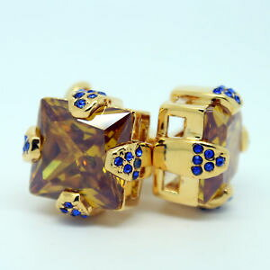 【送料無料】メンズアクセサリ? オレンジゴールドカフスリンクorange, gold and blue square crystal cufflinks