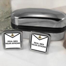 【送料無料】メンズアクセサリ— エプロンカフスボタンボックスreal men wear aprons masinic masons cufflinks amp; box