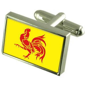 【送料無料】メンズアクセサリ? ボックススターリングシルバーカフリンクスwalloon region sterling silver flag cufflinks in engraved personalised box