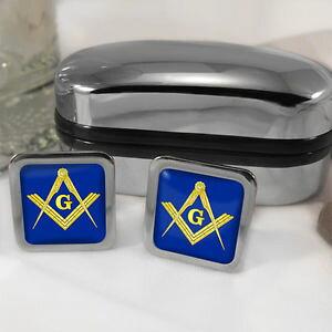 【送料無料】メンズアクセサリ? コンパスカフスボタンボックスmasonic square and compass cufflinks amp; box