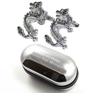 【送料無料】メンズアクセサリ? ドラゴンカフスボタンボックスdragon cufflinks amp; engraved gift box
