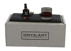 【送料無料】メンズアクセサリ— オニキスアートロンドンスコットランドウィスキーボトルガラスタンブラーメンズカフリンクスonyx art london scottish whisky bottle amp; glass tumbler mens cufflinks