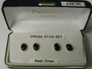 【送料無料】メンズアクセサリ? オニキスドレススタッドボルトセットset of four onyx gold plated dress studs