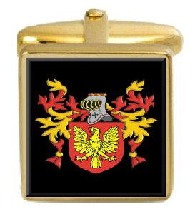 【送料無料】メンズアクセサリ? イギリスカフスボタンボックスコートholroyd england family crest surname coat of arms gold cufflinks engraved box