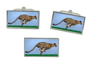 【送料無料】メンズアクセサリ? タイピンセットcheetah rectangle cufflink and tie pin set