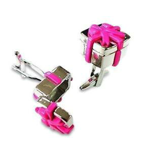 【送料無料】メンズアクセサリ? ピンクボックスカフリンクスpink gift box cufflinks