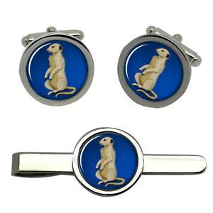 【送料無料】メンズアクセサリ? タイクリップセットmeerkat round cufflink and tie clip set
