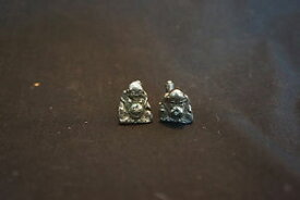 【送料無料】メンズアクセサリ— vtgスターリングブッダカフスリンクold vtg sterling silver buddha sitting design cufflinks jewelry