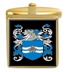 【送料無料】メンズアクセサリ? イギリスカフスボタンボックスコートhummerston england family crest surname coat of arms gold cufflinks engraved box