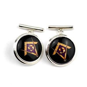 【送料無料】メンズアクセサリ? エナメルコンパスカフスボタンボックスソリッドスターリングシルバーenamel masonic freemasons compass g cufflinks box solid 925 sterling silver