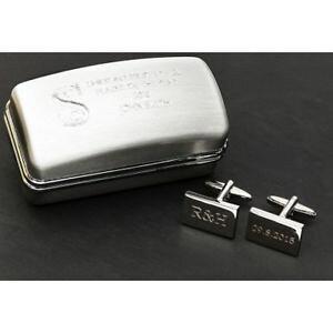 【送料無料】メンズアクセサリ? イニシャルボックスカフリンクスinitials and date wedding cufflinks in engraved box
